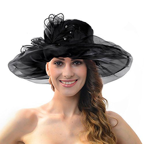 Acecharming Womens Kentucky Derby Church Wide Brim Floral Organza Hat with Beads