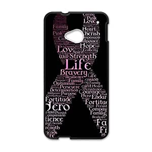 Happy breast cancer ribbon with words Phone Case for HTC One M7