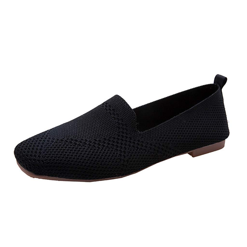 New in Haalife◕‿Women Knit Point Toe Flats Basic Ballet Flats Comfortable Slip-On Loafer Walking Shoe Black