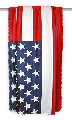 DII Home Essentials Reversible Ultra Plush Sherpa Printed Throw Blanket for Bedroom, Couch, Car, Gift, Dorm, 50 by 60-Inch, USA Flag