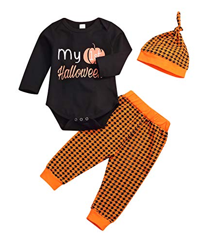 Younger star Newborn Outfit My First Halloween Costumes Pumpkin Pants Long Sleeve Outfits Sets Baby Boys Girls Halloween Clothes (Black, 0-3 Months) -