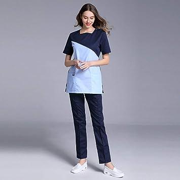 OPPP Ropa médica Enfermera médico Uniforme Remiendo quirúrgico Conjunto de Matorrales Hospital Belleza Uniforme Uniforme Chaqueta + Pantalones Ropa: ...