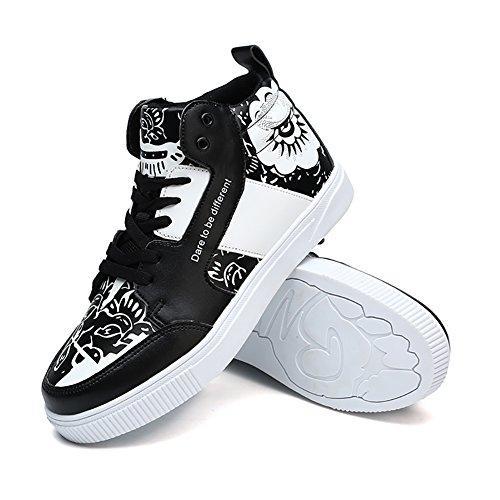 Chaussures de skate pour homme Chaussures de sport Hi-Top Trainer Chaussures de sport légères Chaussures de course Noir 035rYse