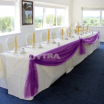 Gorgeous Home Linen *Many Colors* Elegant Wedding Table Valance Chair Decor Sheer Swags Fabric Party Decorations