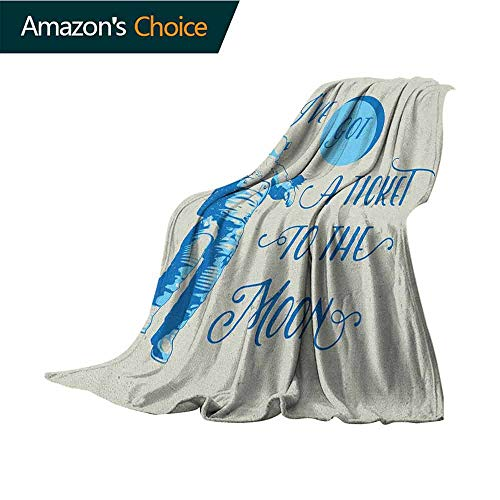 Astronaut Throw Blanket,Ive Got a Ticket to The Moon Astronaut Galaxy Celestial Journey into Space Sofa Super Soft,Plush,Fuzzy Microfiber Throw Reversible,Comfy,50