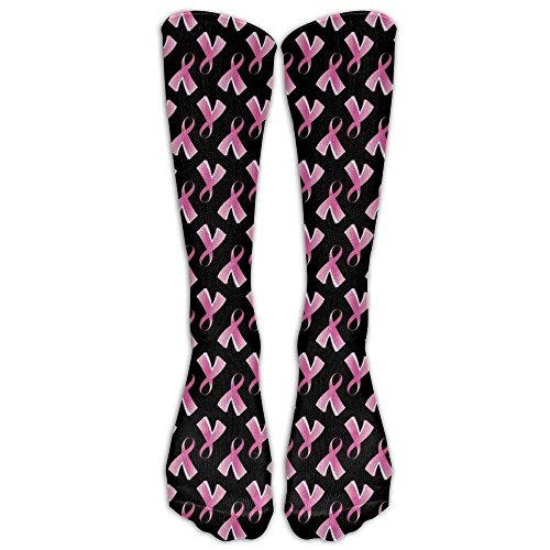 Ribbon Pink Socks Quarter (Breast Cancer Pink Ribbon Compression Socks For Men & Women - Medical Graduated - Prevent Swelling & DVT - For Training, Flight Travel, Sedentary Lifestyle - Perfect For Maternity & Pregnancy)