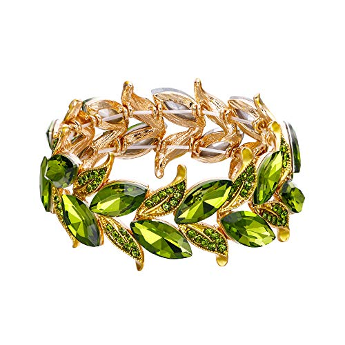 BriLove Wedding Bridal Bracelet for Women Marquise-Shape Leaf Stretch Bangle Bracelet Peridot Color Gold-Toned