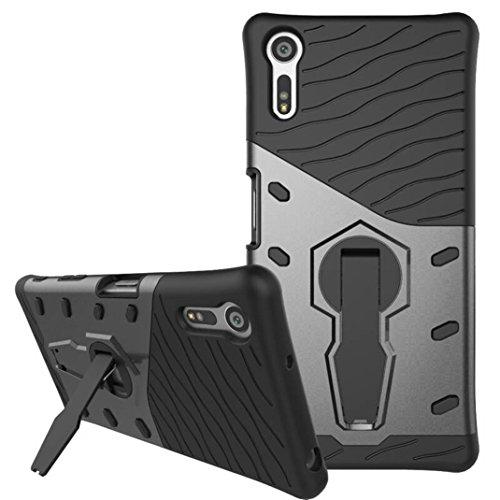 Sony E5 Funda - Litastore Giratorio Combinación Cáscara Dura Caso Cubierta Armor Protección para Sony E5 - Oro Negro