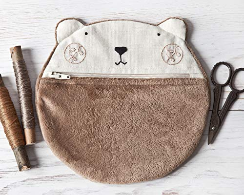 Bear Cosmetic Bag, Fluffy Makeup Bag, Gift for Girlfriend, Brown Bag, Cute Pills Case, Brown Makeup Organizers, Pencil Case, Gifts for Women by JuliaWine