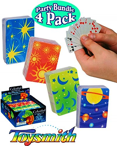 Toysmith Celestial Mini Playing Cards Complete Gift Set Party Bundle - 4 Pack ()