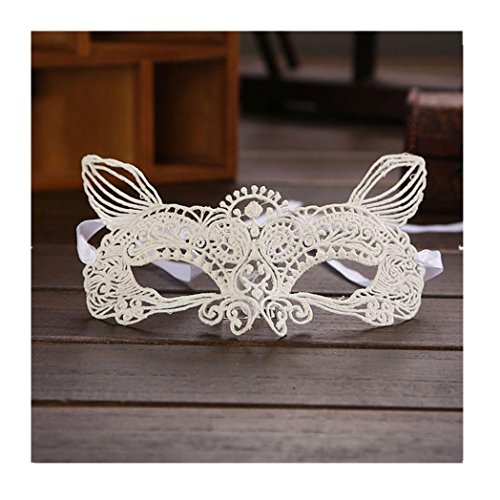 Euone® Halloween Masquerade Sexy Lady Black White Lace Mask hollow out Catwoman (D)