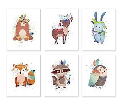 Amazon.com: PGbureau Tribal Woodland Animals - Nursery Wall Art Sett ...
