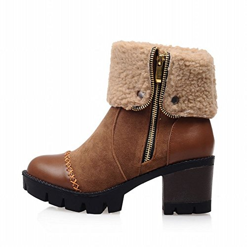 Fashion Stitching Retro Contrast Zipper Mid Warm Short Carolbar Heel Women's Winter Fur Yellow Faux Brown Boots Hqn8gxF