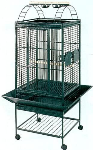 Mcages Parrot Bird Wrought Iron Cage Play-Top On Wheels L18 x W18 x H55 Green
