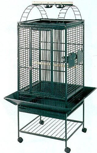 Brand New Parrot Bird Wrought Iron Cage Play-Top On Wheels L18″ x W18″ x H55″ *Green*, My Pet Supplies