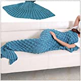 Image of Yowao Mermaid Tail Blanket Adult Handmade Knitted Fish Scales Pattern and All Seasons Warm Your Feet Sleeping Bag 74.86 x 35.46 inch (190x90cm) (Blue Lake)