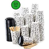 160 Paper Cups Coffee To Go - 12 Ounces Coffee Cups with Lids and Wooden Stirrers for Serving Coffee, Tea, Hot and Cold Drinks