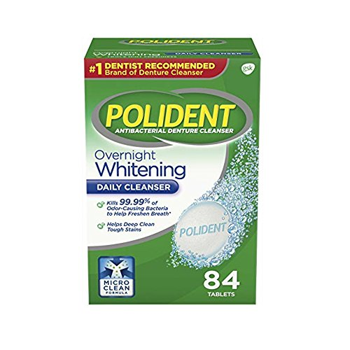- Polident Denture Cleanser Antibacterial Overnight Whitening Triple Mint Freshness - 84 Tablets (Pack of 3)
