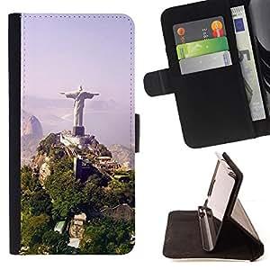 BullDog Case - FOR/Sony Xperia Z1 L39 / - / Architecture Brazil Jesus Statue /- Monedero de cuero de la PU Llevar cubierta de la caja con el ID Credit Card Slots Flip funda de cuer