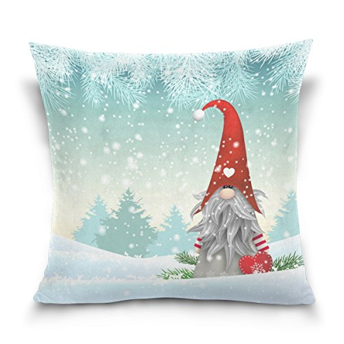 Double Sided Lovely Sprite Christmas Gnome Standing in Snowfall Winter Cotton Velvet Throw Pillow 18x18 Inch Zipper Pillowcase for Decorative Pillows