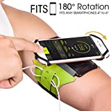 VUP Armband for iPhone X 8 8 Plus 7 Plus 6s Plus 6 Plus, LG G6 G5, Galaxy s8 s7 s6 Edge, Google Pixel, 180° Rotatable Phone Armband for Running Hiking Biking with Key Holder(Green)