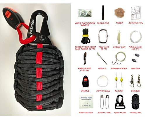 Paracord Survival Grenade (30pc) Kit with Water Purification Tabs--Military Grade Wilderness Preppers Gear For Camping Hiking Hunting--Moms Feel Safe! Your Kids Can Get Food Fire And Shelter When Lost