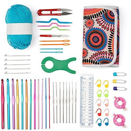 LifeWiseProducts 50+ Piece Full Set Crochet Kit Knitting Set with Bag Wrap Board Scissors Gauge Knit Stitch Holder Twist Needles - Comes with Ball of Yarn -