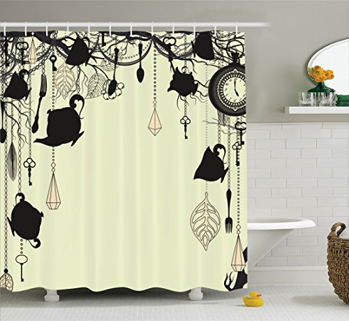Antique Decor Shower Curtain by Ambesonne, Antique Background with Tea Party Theme Diamonds Feathers Forks Spoons Cups Image, Polyester Fabric Bathroom Set with Hooks, Black and Avocado Green