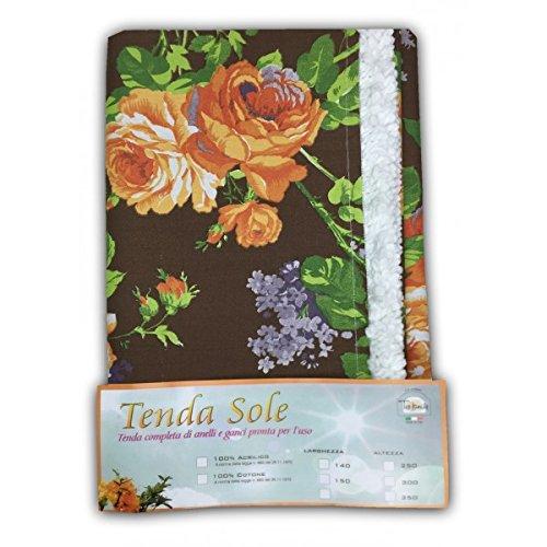 TENDA SOLE DA ESTERNO GIARDINO BALCONE FIORE MARRONE CONFEZIONATA - Cm. 140x250 Tex family