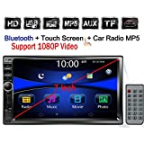 "Regetek Double Din Car Radio Stereo, 7"" In-Dash 1080P Touchscreen, Audio Receiver Bluetooth/ FM/AM MP3/ TF/ USB/ AUX-in, Support Steering Wheel control, Rearview Camera Input (No CD/DVD & GPS)"