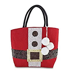 Christmas Santa Belt Dazzle Sequin Tote Bag