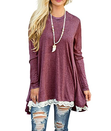 Women's Lace Long Sleeve Scoop Neck Tunic Tops Blouse Shirts for Leggings Red