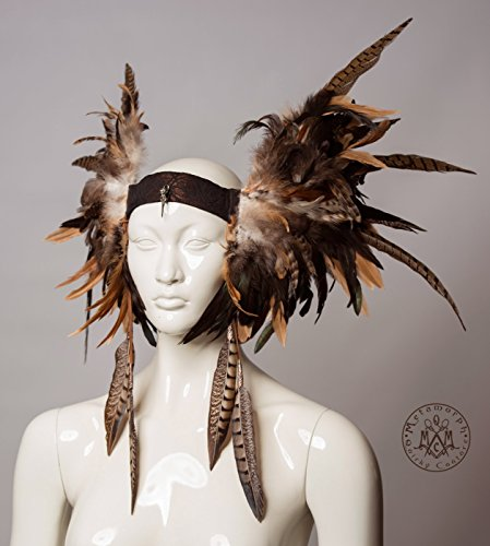 Earthy brown pheasant feather headdress