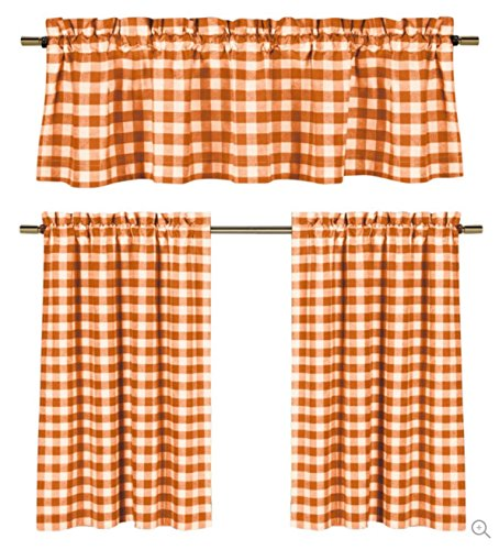3 Pc. Plaid Country Chic Cotton Blend Kitchen Curtain Tier & Valance Set - Assorted Colors (Orange) (Tiers Polyester Valance)
