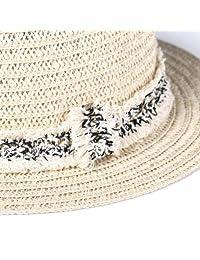 accsa - Sombrero de paja con cordón ajustable, protección UPF50 +, para mujer