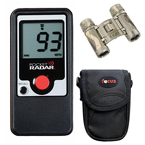 Pocket Radar PR-1000 Classic Model All Purpose Handheld Speed Radar with Bushnell Powerview Binocular and Camera Case