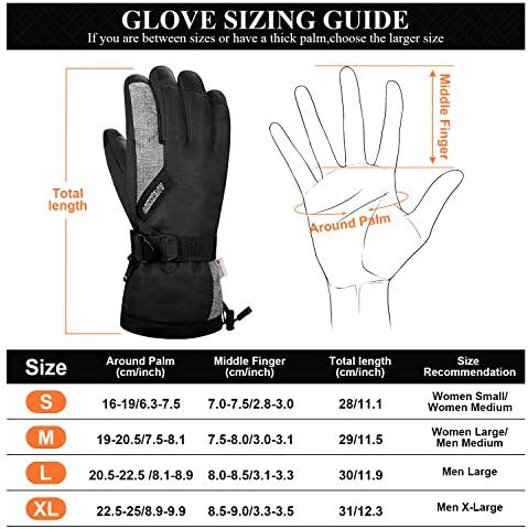 LANYI Winter Gloves for Men Women 3M Thinsulate Insulated Waterproof Ski Thermal Gloves Snowboard Driving Fleece Snow Gloves Cold Weather Gloves