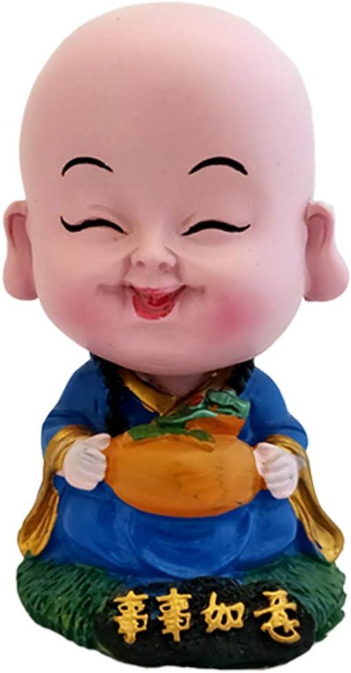 Divya Mantra Bobblehead Figure for Office, Car Dashboard Bobble Head Spring Shaking Lama Baby Buddha Kids Toy Doll Showpiece, Collection Figurines, Home Decor / Yoga Meditation Room Decoration - Blue