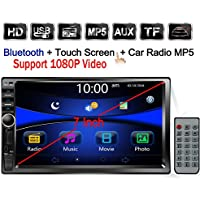 Regetek Double Din Car Radio Stereo, 7 In-Dash 1080P Touchscreen, Audio Receiver Bluetooth/ FM/AM MP3/ TF/ USB/ AUX-in, Support Steering Wheel control, Rearview Camera Input (No CD/DVD & GPS)