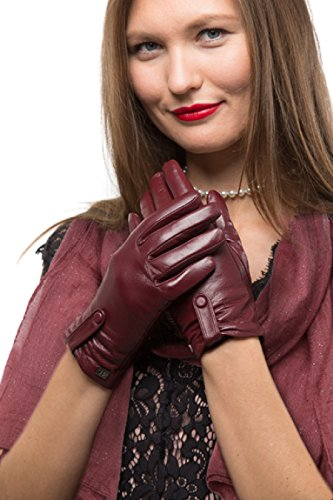Avenue Leather Gloves (Fashion Sheepskin Leather Gloves For Women, Cold Weather TouchScreen - Gathered Button Design - Thinsulate Lined Long Sleeve Gloves - Burgundy - Small)