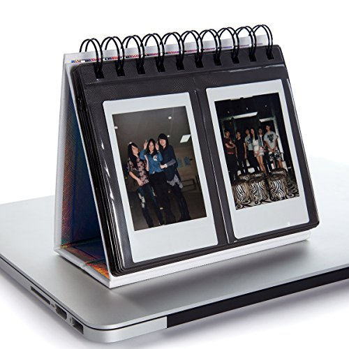 [Fujifilm Instax Mini Photo Album] Woodmin Desk Calendar Mini Album for Fuji Instant Mini 70 7s 8 8+ 9 25 50s 90, Polaroid Z2300, Polaroid PIC-300P Film(White) (Wedding Flip Album)