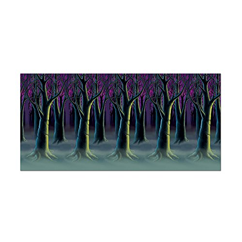 Beistle Halloween Party Decoration Spooky Forest Trees Backdrop 4' x 30'- Pack of 6]()