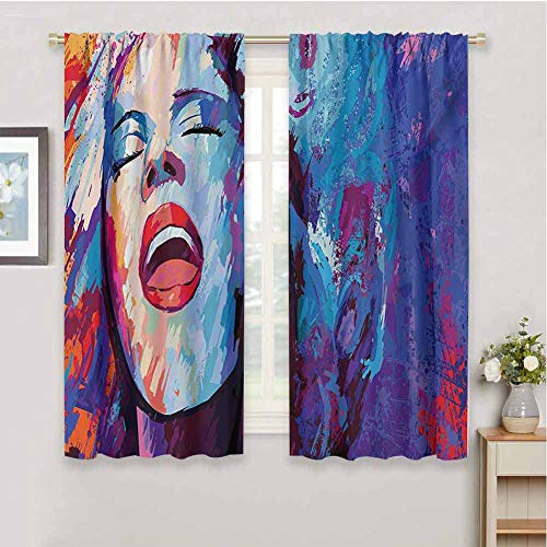 HoBeauty home Jazz Musickitchen curtainIllustration of Singer on Grunge Background Performing Singing Woman Imagesmall Window curtainBlue Purple Red72 x 72 inch