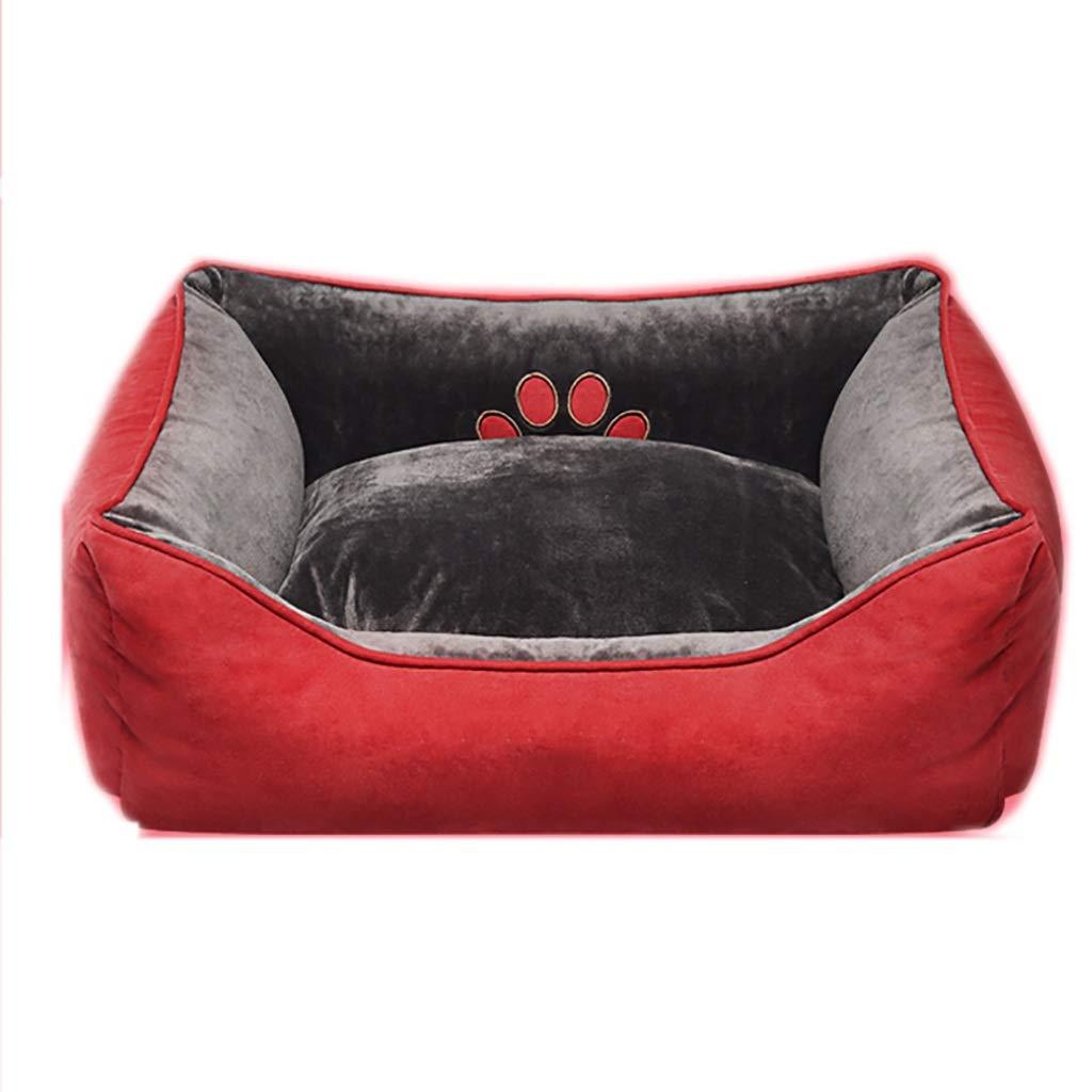 ZXCC Caseta Canina Grande para Perros de tamaño Mediano, Nido para Mascotas, Calidez en Todas Las Estaciones, Estera Perrera Lavable (Color : Red, ...