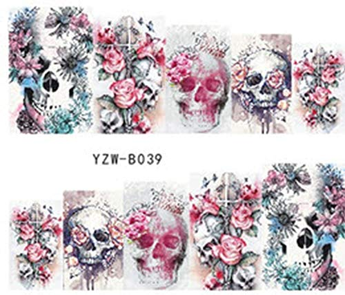 Full Set of 10 Punk Gothic Rockabilly Skull and Roses Nail Wrap Decals Sticker Salon Quality Nail Art - Great for Halloween! 1 Sheet -