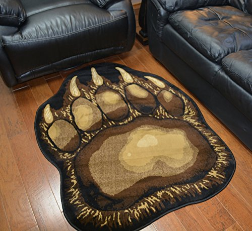 Bear Claw Rustic Lodge Paw Area Rug 3'8 W X 4'10 L