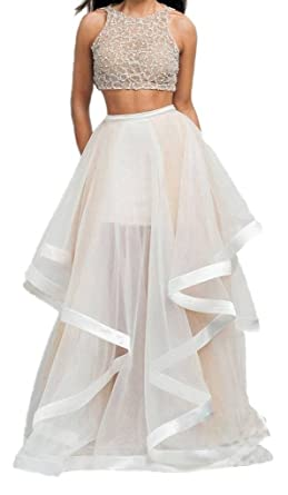 Fanmu Womens Beaded Two Piece Prom Dresses Formal Evening Gown Champagne ...