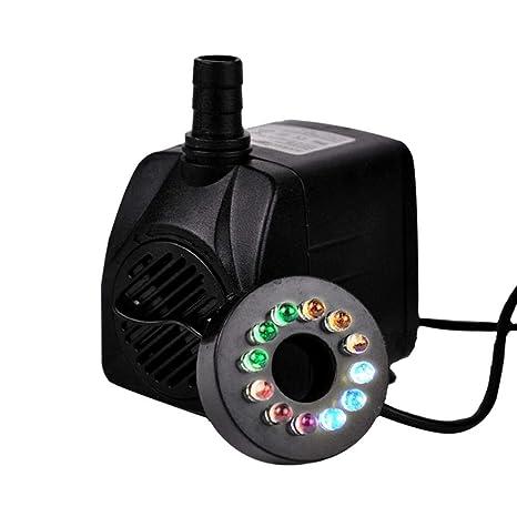 WXGY Mini Bomba de Agua Sumergible de plástico Bomba de circulación silenciosa 16W Perforación con luz