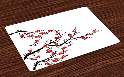Lunarable Japanese Place Mats Set of 4, Simplistic Cherry Blossom Tree Asian Botanic Themed Pattern Fresh Organic Lines Art, Washable Fabric Placemats for Dining Room Kitchen Table Decor, Red Black (Asian Placemat Set)