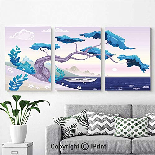 Modern Gallery Wrapped Canvas Print Fantastic Landscape Bonsai Tree Sea Water Lilies Daisies and Boat 3 Panels Pictures on Canvas Wall Art Ready to Hang for Living Room Kitchen Home Decor,12